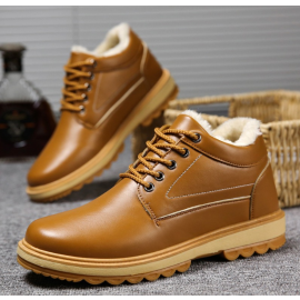 Plush leather shoes British warm casual shoes